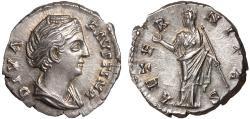 Ancient Coins - Diva Faustina I AR denarius – Juno – Lustrous lightly toned good metal