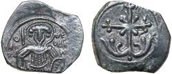 Ancient Coins - Empire of Nicaea: Magnesia, AE Anonymous tetarteron – St. Theodore/Ornate cross