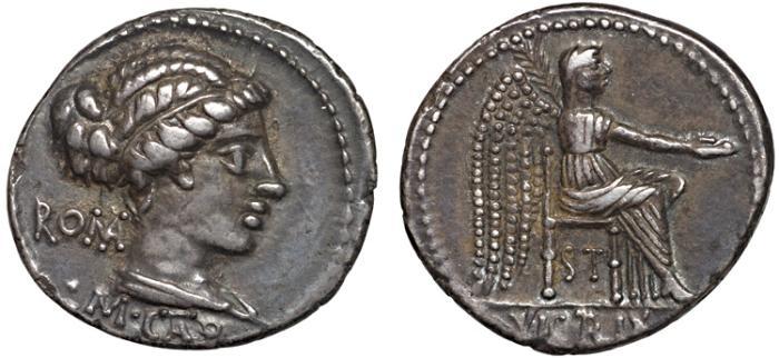Ancient Coins - M. Porcius Cato AR denarius – Roma(?)/Victory