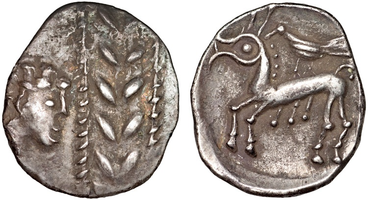 Ancient Coins - Eastern Celts: Boii AR drachm – Head and wreath/Horse and bird – Totfalu type – Excellent preservation for type