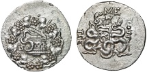 Ancient Coins - Mysia. Pergamon: AR cistophoric tetradrachm – Cista mystica/Bow-case with serpents – Unusually good strike