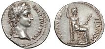 "Ancient Coins - Tiberius AR denarius – Livia(?) – ""Tribute Penny"" – Excellent portrait"