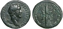 Ancient Coins - Antoninus Pius AE sestertius – Winged thunderbolt – Attractive patina, scarce type, comes with David Sear COA
