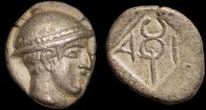 Ancient Coins - Thrace. Ainos: AR diobol – Hermes/Kerykeion
