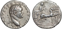 Ancient Coins - Vespasian AR denarius – Emperor in quadriga – Good metal for type