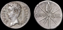 Ancient Coins - Augustus AR denarius – Comet – Divus Julius Caesar – Good portait
