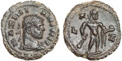 Ancient Coins - Maximianus Herculius AE tetradrachm. Alexandria Egypt – Herakles with Apple of the Hesperides – EF; rare; attractive dark patina