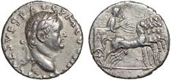 Ancient Coins - Vespasian AR denarius – Emperor in quadriga – Good metal for type