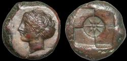 Ancient Coins - Sicily. Syracuse: AE hemilitron – Nymph/Star – Excellent preservation for type