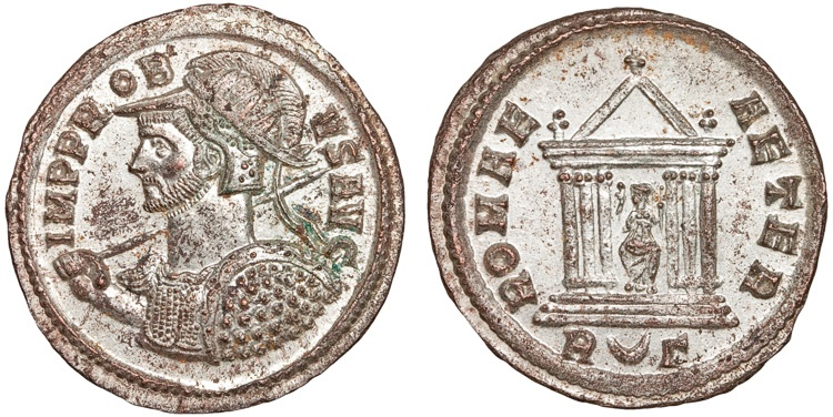 Ancient Coins - Probus billion antoninianus – Roma in temple – EF; well-silvered