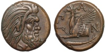 Ancient Coins - Cimmerian Bosporos. Pantikapaion: AE21 - Pan (or satyr?)/Griffin