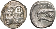 Ancient Coins - Moesia. Istros: AR drachm – Upright and inverted heads/Sea-eagle and dolphin