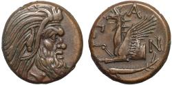 Ancient Coins - Cimmerian Bosporos. Pantikapaion: AE21 - Pan (or satyr?)/Griffin