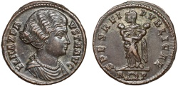 Ancient Coins - Fausta AE follis – Empress with children – Rare issue; attractive portrait