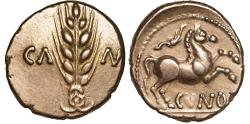 Ancient Coins - British Celts: Catuvellauni and Trinovantes. Cunobelin AV stater – Grain ear/Horse – Well-struck for type