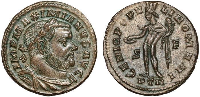 Ancient Coins - Maximianus billon follis – Genius – EF