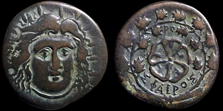 Ancient Coins - Islands off Caria. Rhodos. Rhodes AE35 (drachm )– Helios/Rose in wreath – Attractive in-hand