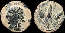 Ancient Coins - Mauretania. Iol-Caesarea: AE ½ (half) unit – Isis/Three grain ears – Rare; well-preserved for type
