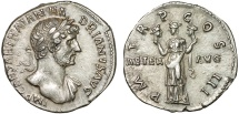 Ancient Coins - Hadrian AR denarius – Aeternitas holding heads of Sol and Luna – Fine style; very clear reverse for type