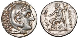 Ancient Coins - Macedonian Kingdom: Alexander III AR tetradrachm – Herakles/Zeus – EF; attractive light gold toning
