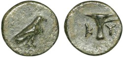Ancient Coins - Aeolis. Kyme: AE11 – Eagle/Vase