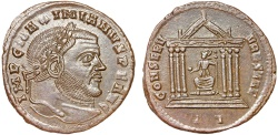 Ancient Coins - Maximianus AE follis – Roma in temple – EF