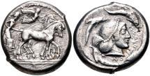 Ancient Coins - SICILY, Syracuse. Hieron I. 478-466 BC. AR Tetradrachm (23mm, 16.83 g, 10h).