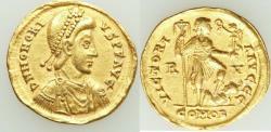 Ancient Coins - Honorius, Western Roman Empire (AD 393-423). AV solidus (21mm, 4.38 gm, 6h). VF,