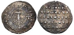 Ancient Coins - John I Zimisces. 969-976. AR Miliaresion (21.5mm, 2.69 g, 6h). Constantinople mint.