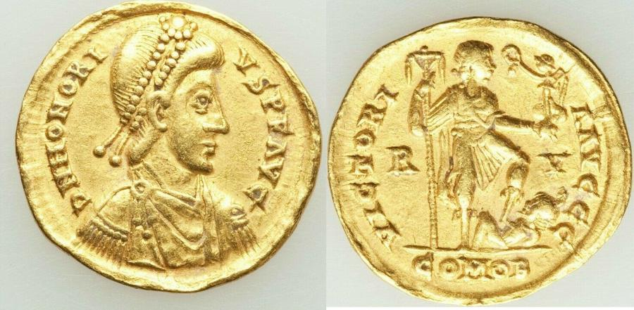 Ancient Coins - Honorius, Western Roman Empire (AD 393-423). AV solidus (21mm, 4.38 gm, 6h). VF,