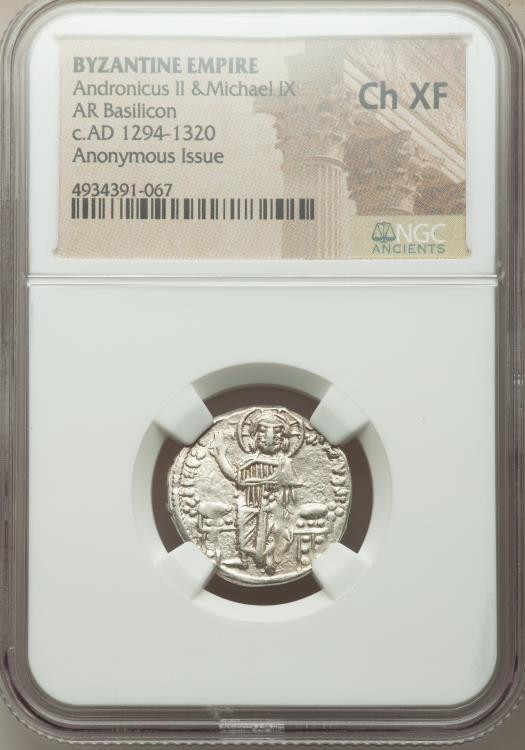 Ancient Coins - Andronicus II Palaeologus and Michael IX (AD 1294-1320). AR basilicon (22mm, 5h). NGC Choice XF.