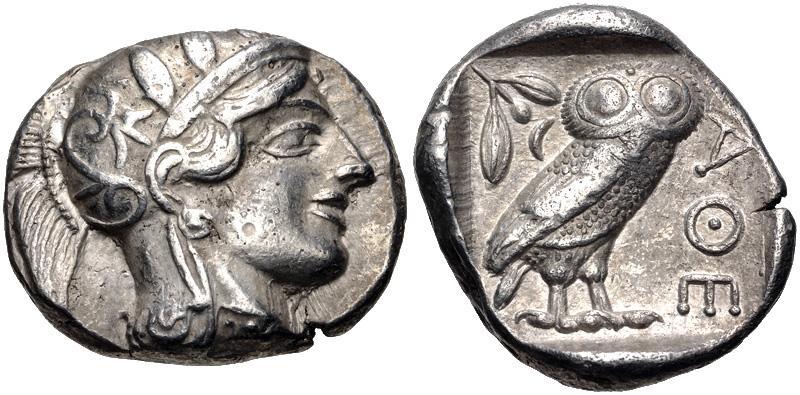 Ancient Coins - ATTICA, Athens. Circa 454-404 BC. AR Tetradrachm (25.5mm, 17.13 g, 4h). Helmeted head of Athena