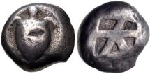 Ancient Coins - ISLANDS off ATTICA, Aegina. Circa 500/490-480 BC. AR Stater (18mm, 11.97 g, 3h). Sea turtle