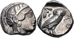 Ancient Coins - ATTICA, Athens. Circa 454-404 BC. AR Tetradrachm (22.5mm, 17.19 g, 8h). Helmeted head of Athena