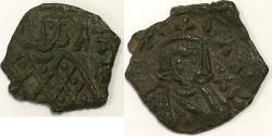 Ancient Coins - Leo V with Constantine. 813-820. Æ Follis (20mm, 2.94 gm). Syracuse mint.