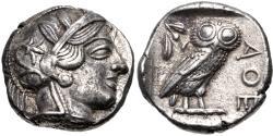 Ancient Coins - ATTICA, Athens. Circa 454-404 BC. AR Tetradrachm (23.5mm, 17.19 g, 8h).