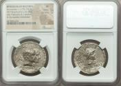 Ancient Coins - BACTRIAN KINGDOM. Eucratides I the Great (ca. 170-145 BC), with Heliocles and Laodice. AR tetradrachm (32mm, 15.49 gm, 11h). NGC XF
