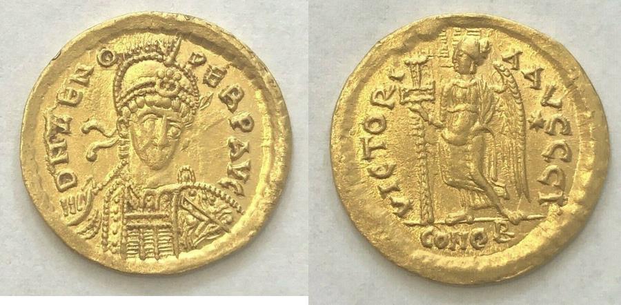 Ancient Coins - Zeno. Second reign, AD 476-491. AV Solidus (19mm, 4.43 g)