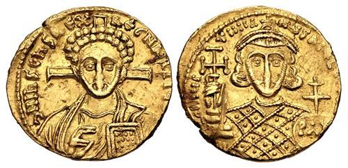 Ancient Coins - Justinian II. Second reign, 705-711. AV Solidus (19.5mm, 4.33 g, 6h). Constantinople mint.