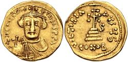 Ancient Coins - Constans II. 641-668. AV Solidus (19.5mm, 4.26 g, 6h). Constantinople mint, 6th officina. Dated IY 6