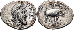 Ancient Coins - The Pompeians. Q. Caecilius Metellus Pius Scipio. 47- Spring 46 BC. AR Denarius