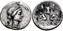 Ancient Coins - The Caesarians. Julius Caesar. Late 46-early 45 BC. AR Denarius (18.5mm, 3.69 g, 3h)