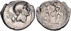 Ancient Coins - The Pompeians. Sextus Pompey. 37/6 BC. AR Denarius (20mm, 3.74 g, 12h).