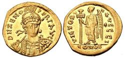Ancient Coins - Zeno. Second reign, AD 476-491. AV Solidus (20mm, 4.31 g, 6`h). Constantinople mint, 10th officina