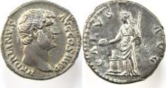 Ancient Coins - Hadrian. AD 117-138. AR Denarius (17mm, 3.14 gm). Struck circa AD 134-138