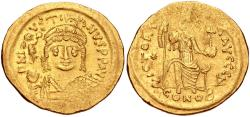 Ancient Coins - Justin II. 565-578. AV Solidus (21mm, 4.44 g, 6h). Constantinople mint, 4th officina.