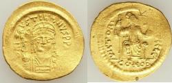 Ancient Coins - Justin II (AD 565-578). AV solidus (21mm, 4.45 gm, 6h). VF, graffiti Constantinople,