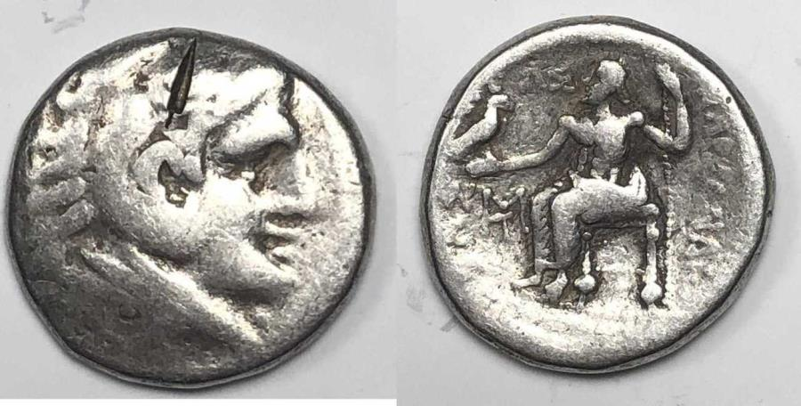 Ancient Coins - Macedon Alexander III. Silver Tetradrachm 336-323 BC. (16.93 grams, 25mm).