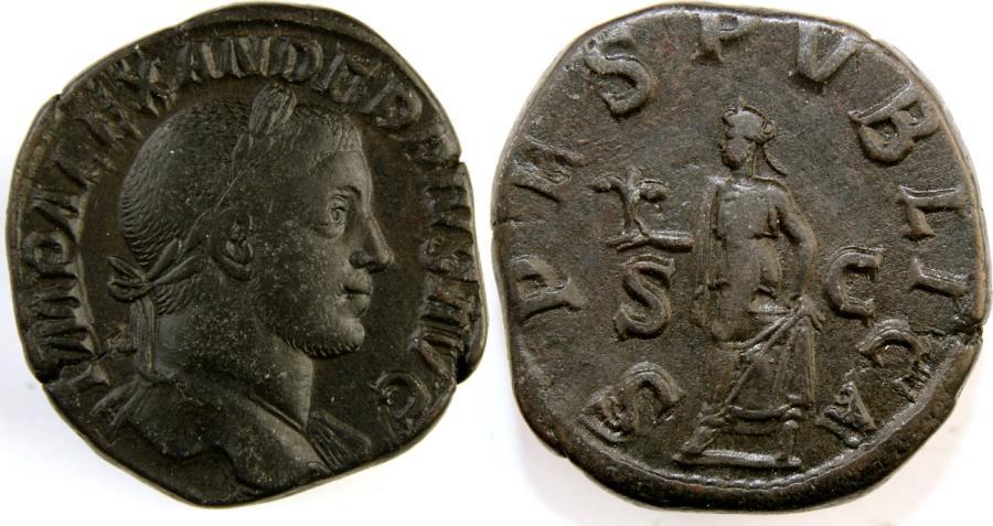 Ancient Coins - SEVERUS ALEXANDER. 222-235 AD. Æ Sestertius (31mm, 20.92 gm). Struck 232 AD.