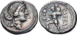 Ancient Coins - The Caesarians. Julius Caesar. Late 48-47 BC. AR Denarius (17.5mm, 3.62 g, 6h). Military mint